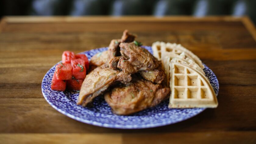 LOS ANGELES,CA --MONDAY, JUNE 11, 2018--Lewellyn's Fine Fried Chicken, with petite cheddar waffle an