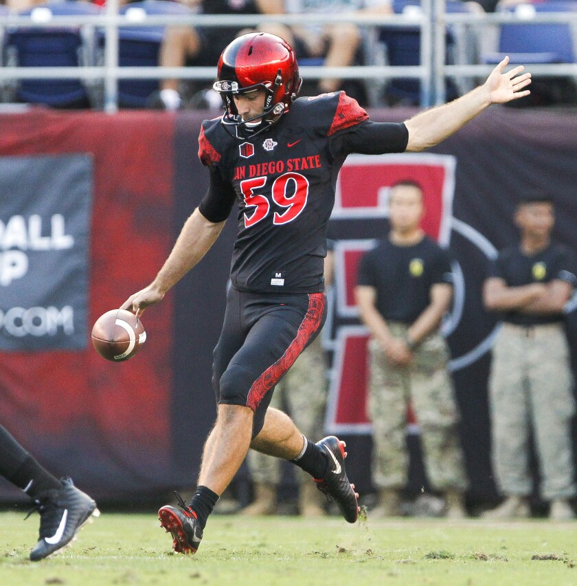 San Diego State's Brandon Heicklen punts during game against Sacramento State at SDCCU Stadium last season.