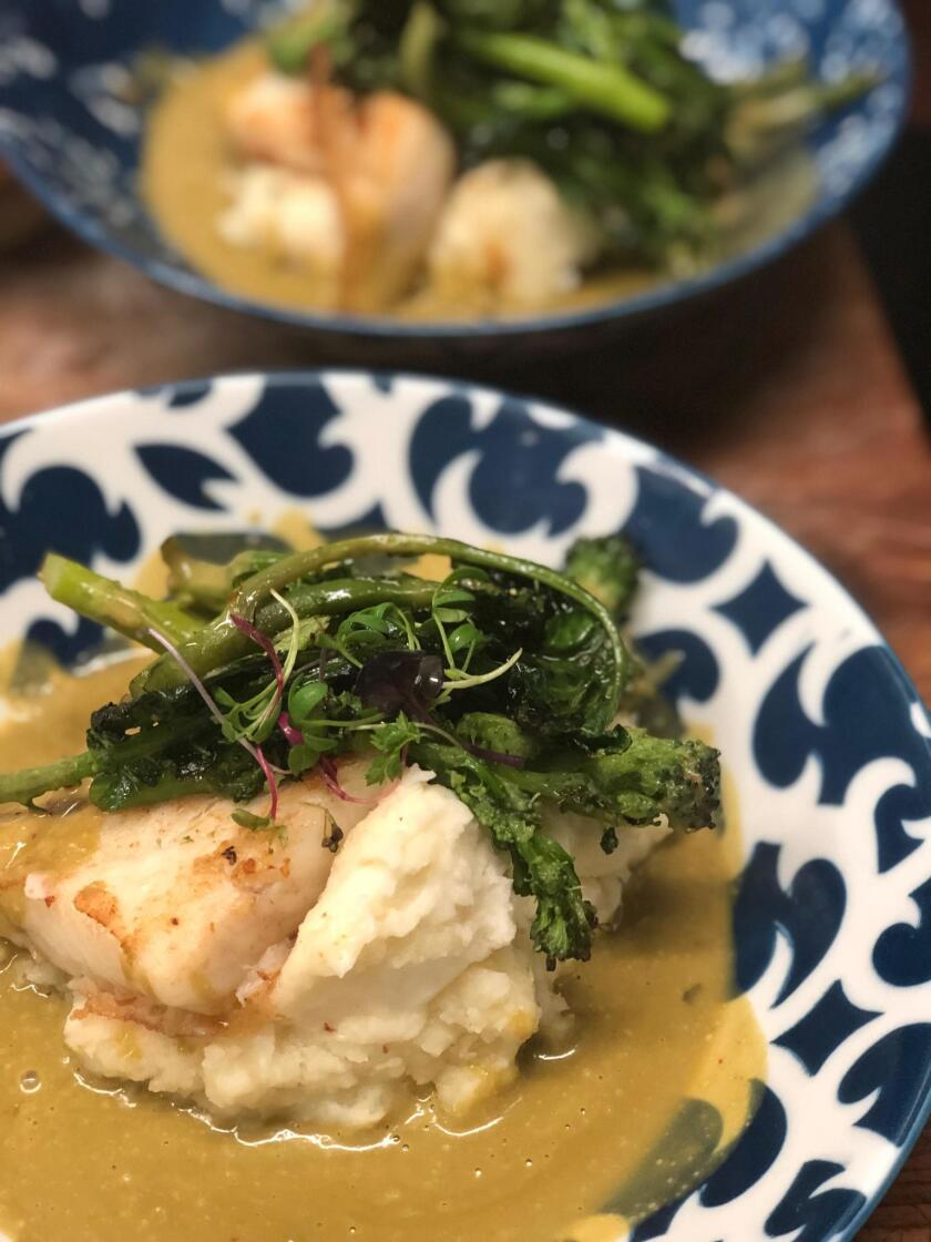 Halibut and Mashed Potatoes with Beurre Blanc Sauce