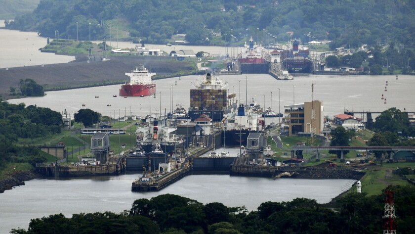 The Miraflores locks in the Panama Canal. The canal's expansion project will be inaugurated Sunday.