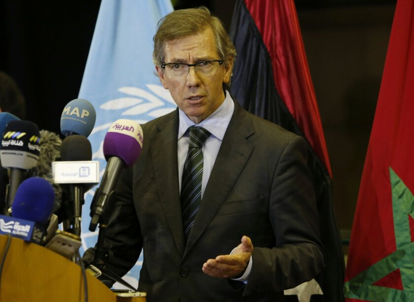 FILE - In a Wednesday, Oct. 7, 2015 file photo, United Nations envoy for Libya Bernardino Leon gestures as he speaks to the media in Skhirat, Morocco.  Libya's Islamist authorities said Thursday, Nov. 5, 2015, that they are shocked to learn that Leon, the U.N. envoy to their war-torn country, has a