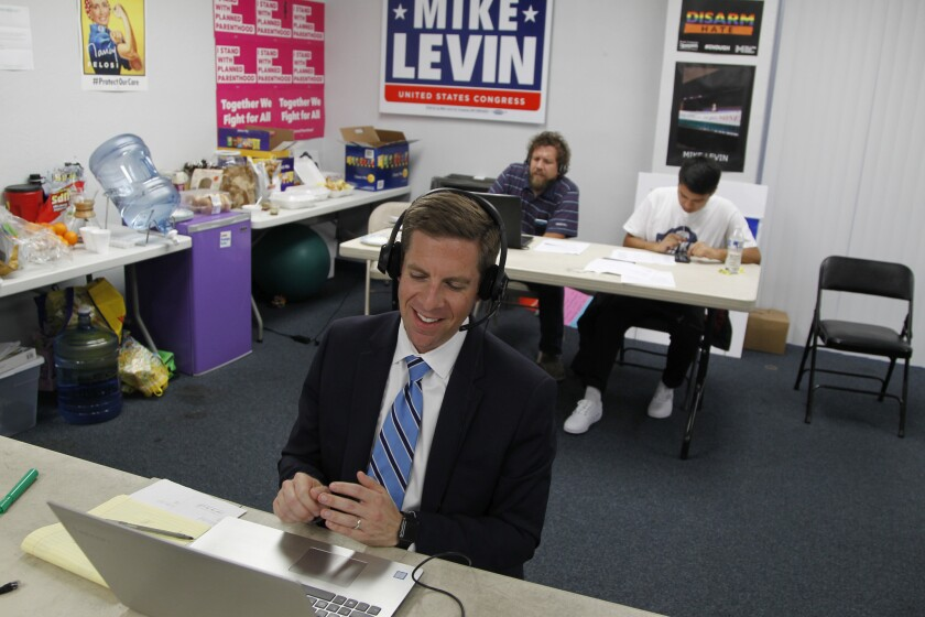 SAN DIEGO, CA June 5th 2018   Mike Levin, congressional candidate for the 49th District, takes to th