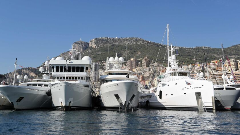 Boats docked at Port Hercules for the 2017 Monaco Yacht Show.