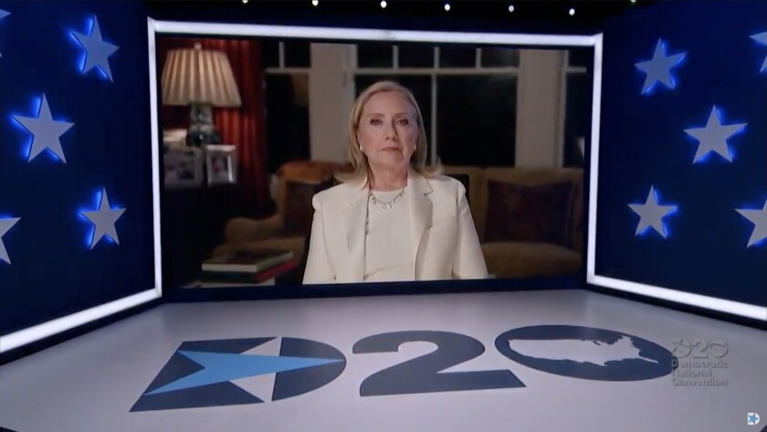 Screenshot from the 2020 Democratic National Convention of former first lady and Secretary of State Hillary Clinton