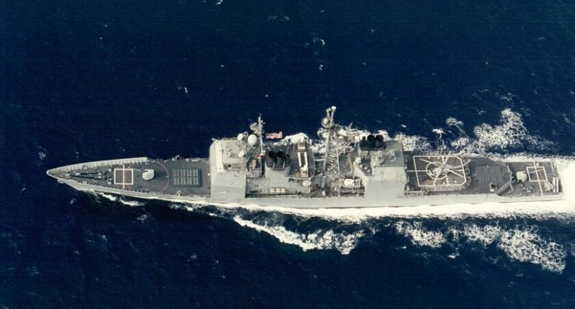 File photo of the Cowpens operating in the western Pacific in 1993.