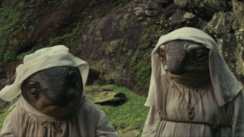 "The Caretakers in a scene from ""Star Wars: The Last Jedi."" Credit: Industrial Light & Magic/Lucasfil"