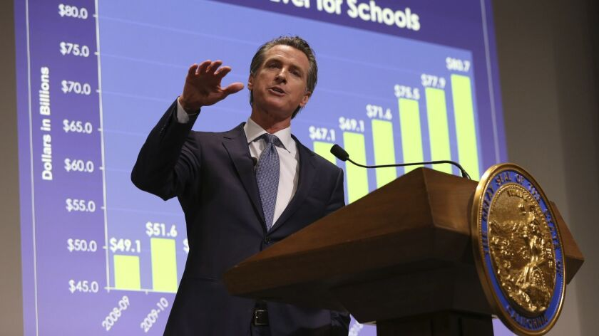 California Gov. Gavin Newsom presents his first state budget during a news conference on Jan. 10 in Sacramento.