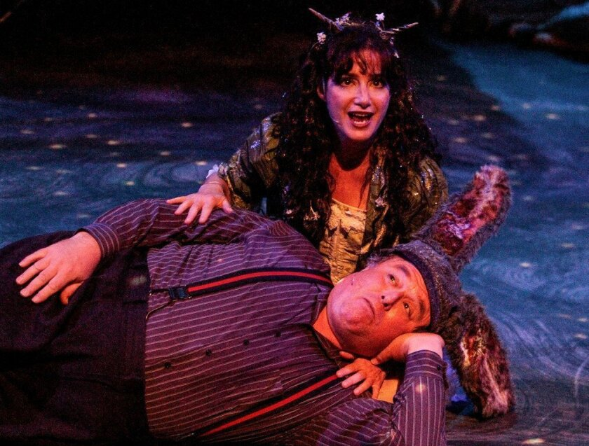 """Sandy Campbell and Tom Stephenson in Intrepid Shakespeare Co.'s """"A Midsummer Night's Dream, the Musical."""""""