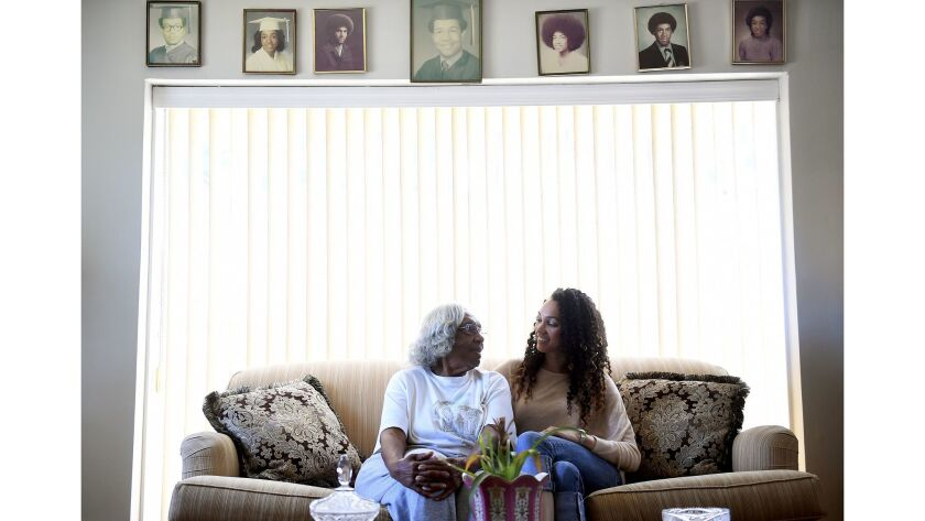LOS ANGELES-CA-JUNE 27, 2017: Gina Clayton, right, is photographed with her grandmother Velma Hallib