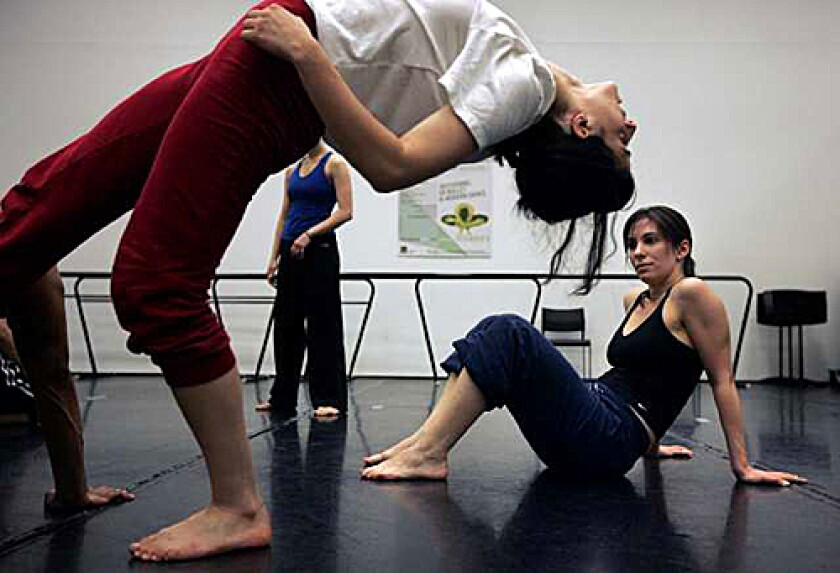 """JOINT EFFORT: Andrea Miller, left, and Tina Berkett work out Body Traffic's modern-dance moves for Zeisl's """"Jacob and Rachel,"""" which will be accompanied live by the Los Angeles Jewish Symphony."""