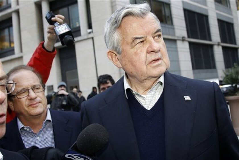 San Diego Chargers owner Dean Spanos, left, and Carolina Panthers Jerry Richardson, leave after negotiations with the NFL Players Association involving a federal mediator broke down without an agreement Friday, March 11, 2011 in Washington.(AP Photo/Alex Brandon)