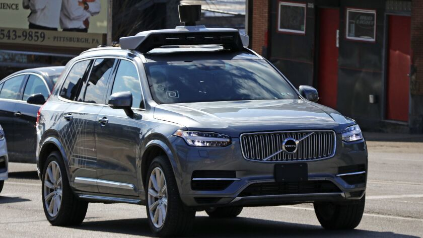 An Uber self-driving Volvo in Pittsburgh in 2017.