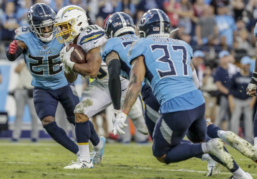 Undersized Chargers running back Austin Ekeler has caught on as a big-time receiver
