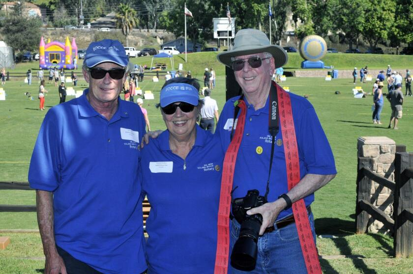 Del Mar/Solana Beach Rotarian and event chair Jon Fish, registration coordinator Suzanne Sutton, public relations liaison Charles Foster