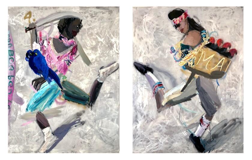 """""""Salta pa' lante (Jump Forward),"""" by Alida Cervantes (acrylic spray paint and oil on aluminum)"""