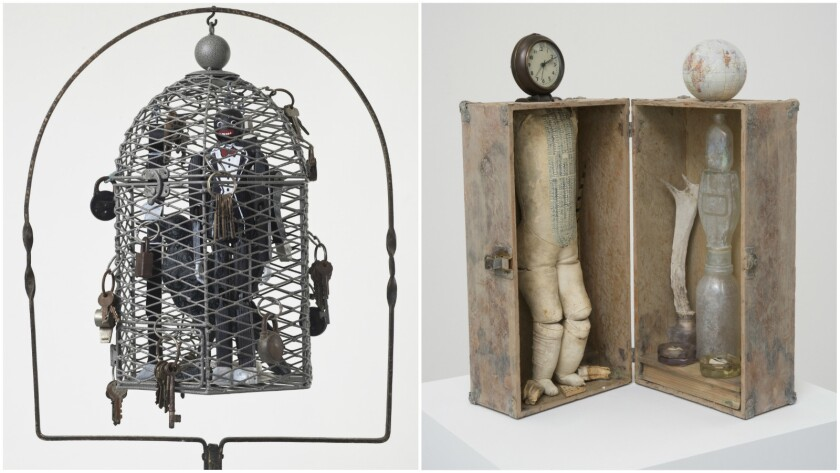 "At left, Betye Saar's ""Serving Time,"" 2010, mixed media assemblage, 64 by 17.25 by 9.75 inches. On the right, Saar's ""Searching for a Vision of Truth,"" 2016, mixed media assemblage, 23 by 10 by 9.5 inches."