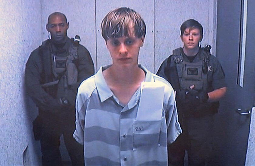 Dylann Roof, charged in the deaths of nine people at a Charleston, S.C., church, appears via video before a judge in June 2015.