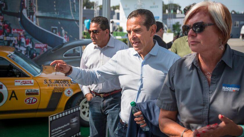 Antonio Villaraigosa takes a quick tour of the Laguna Seca racetrack during a swing through Monterre