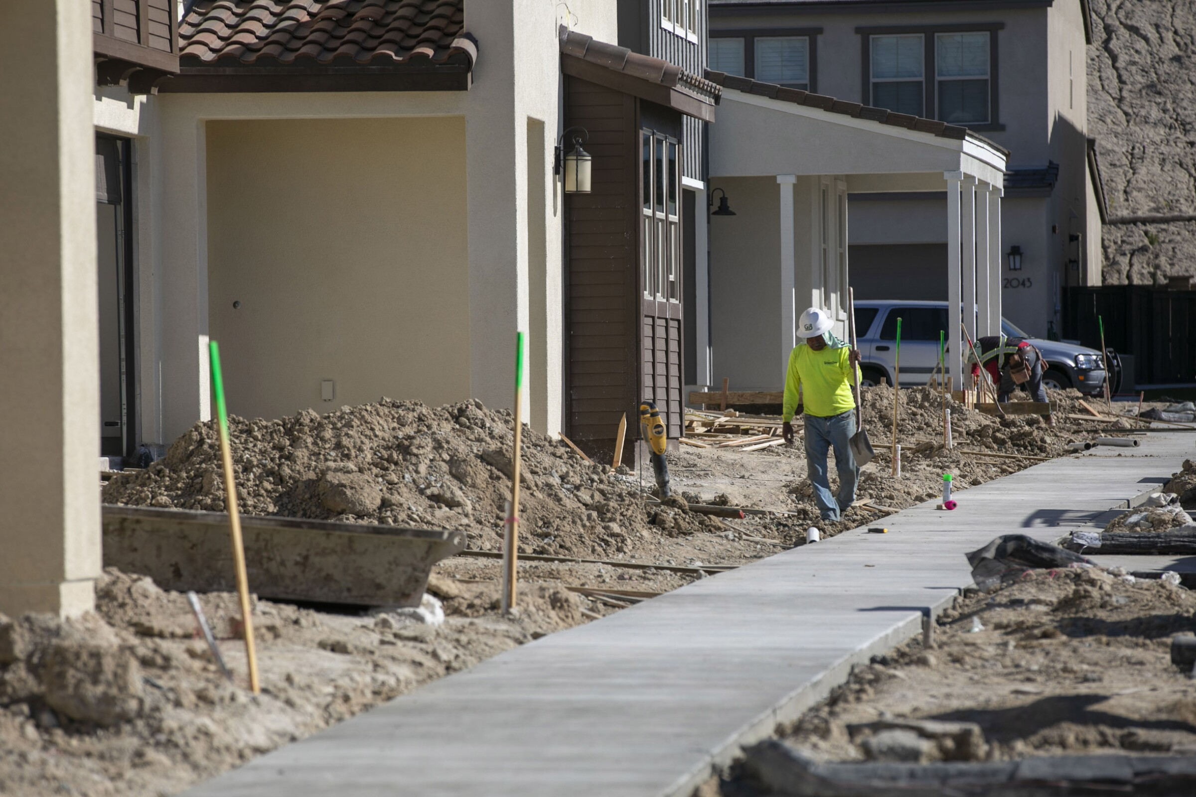 New single family homes under construction in the Seville project in Chula Vista in January.