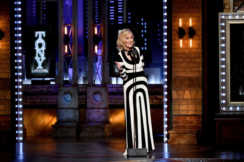 "Catherine O'Hara wore Marc Jacobs to the 2019 Tony Awards, where she introduced a number from the Broadway production of ""Beetlejuice."""