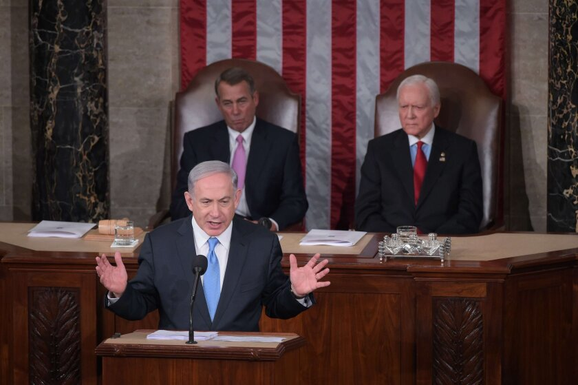 Israeli Prime Minister Benjamin Netanyahu addresses a joint session of Congress on Tuesday.