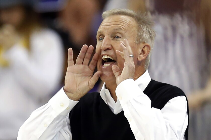 FILE - In this Nov. 29, 2017, file photo, Belmont head coach Rick Byrd calls out to his team during the second half of an NCAA college basketball game against TCU in Fort Worth, Texas. Byrd, who retired in 2019 after leading Belmont to eight NCAA Tournament appearances, will receive the John R. Wooden Legends of Coaching award. His selection was announced by Craig Impelman, Wooden's grandson-in-law, at the Los Angeles Athletic Club on Tuesday, Oct. 5, 2021. Byrd will receive the award in April. (AP Photo/Ron Jenkins, File)