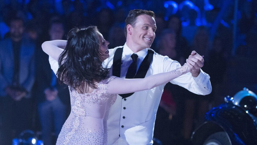 "Ryan Lochte and his pro partner, Cheryl Burke, perform a foxtrot Monday on ""Dancing With the Stars."""