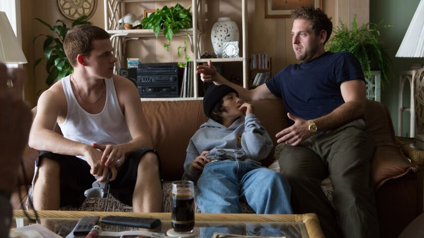 "Lucas Hedges, Sunny Suljic, and director Jonah Hill on the set of the movie ""Mid90s"". Photo Tobin Y"