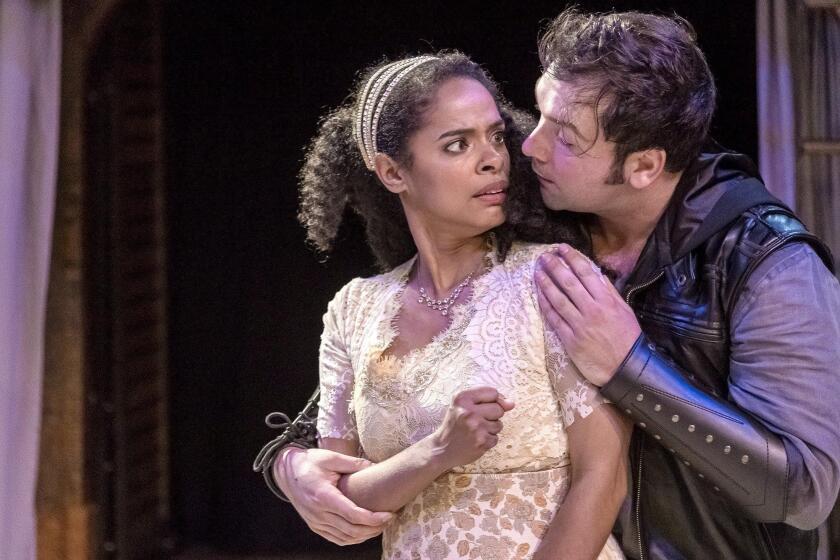 Maribel Martinez as Ophelia and Zak Houston as Hamlet