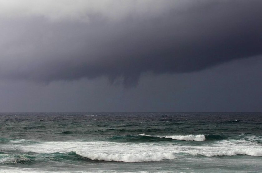 What appears to be the start of a funnel cloud forms over La Jolla during an El Niño storm Wednesday, Jan. 6.