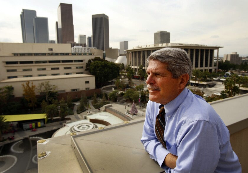 Former L.A. councilman and supervisor Zev Yaroslavsky on the rooftop balcony of the County Hall of Administration office in 2014, the year he was termed out of office.