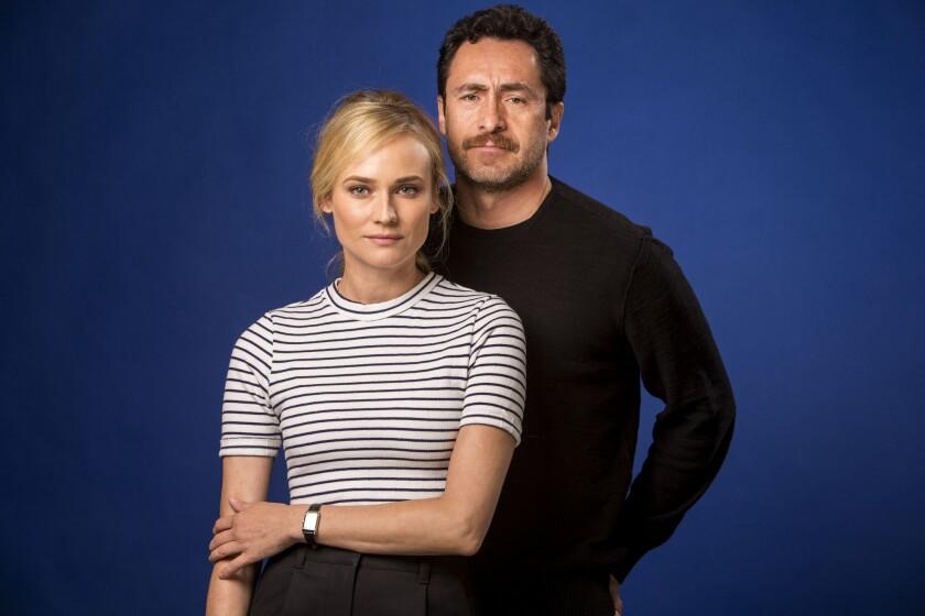"Demian Bichir, left, stars in FX's gritty crime saga ""The Bridge"" with Diane Kruger."