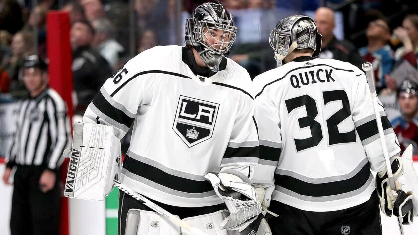 Kings goaltender Jack Campbell replaces Jonathan Quick (32) in net against the Colorado Avalanche in the second period in Denver on Saturday. The Avalanche won, 7-1.