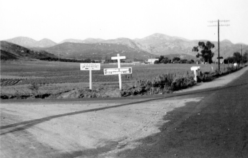Looking east at the intersection of Poway and Midland roads, circa 1954.