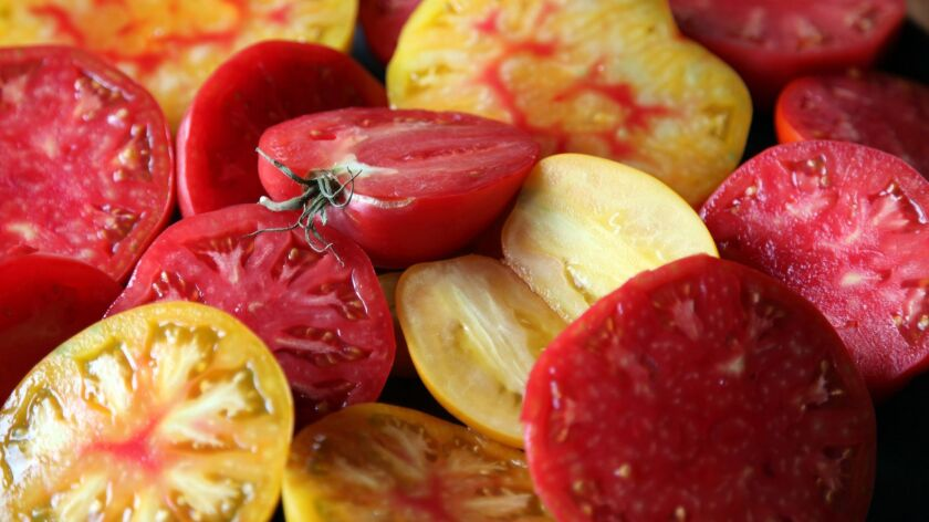 Cut red and yellow tomatoes. Credit: Scott Daigre