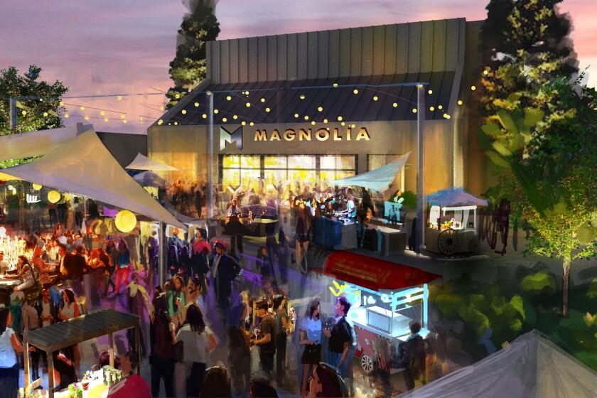 Según lo planeado, el área frente a la entrada del Magnolia Performing Arts Center en El Cajón tendrá un ambiente festivo tipo bazar.