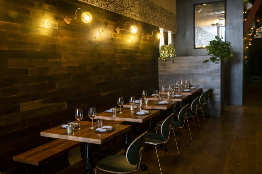 LOS ANGELES, CALIF. - SEPTEMBER 20: A view of the dining area, photographed at Otono in Highland Par