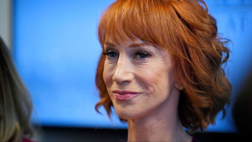 Comedian Kathy Griffin speaks during a news conference in Los Angeles to discuss the backlash since