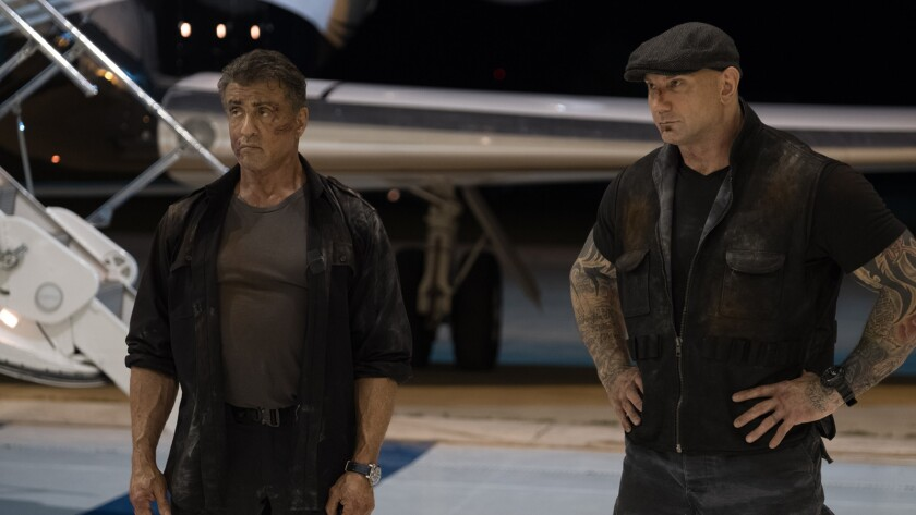 "(L-R)- Sylvester Stallone and Dave Bautista in a scene from ""Escape Plan: The Extractors."" Credit: B"