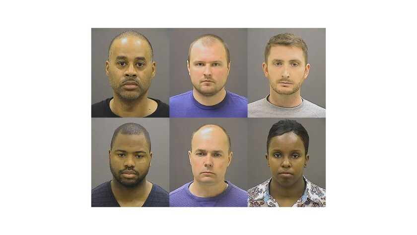 Charges were dropped against Baltimore police officers accused of contributing to the death of Freddie Gray. Top row, from left, Caesar Goodson Jr., Garrett Miller and Edward Nero. Bottom row, from left: William Porter, Brian Rice and Alicia White.