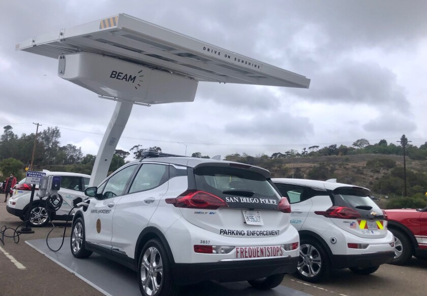 An Electric Vehicle Autonomous Renewable Charger the city of San Diego's electric fleet is using in a pilot project.