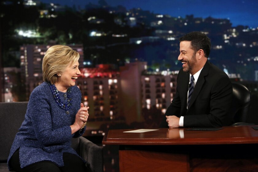 """In this photo provided by ABC, Democratic presidential candidate Hillary Rodham Clinton, left, laughs with host Jimmy Kimmel, Thursday, Nov. 5, 2015, during """"Jimmy Kimmel Live"""" in Hollywood, Calif. (Randy Holmes/ABC via AP)"""