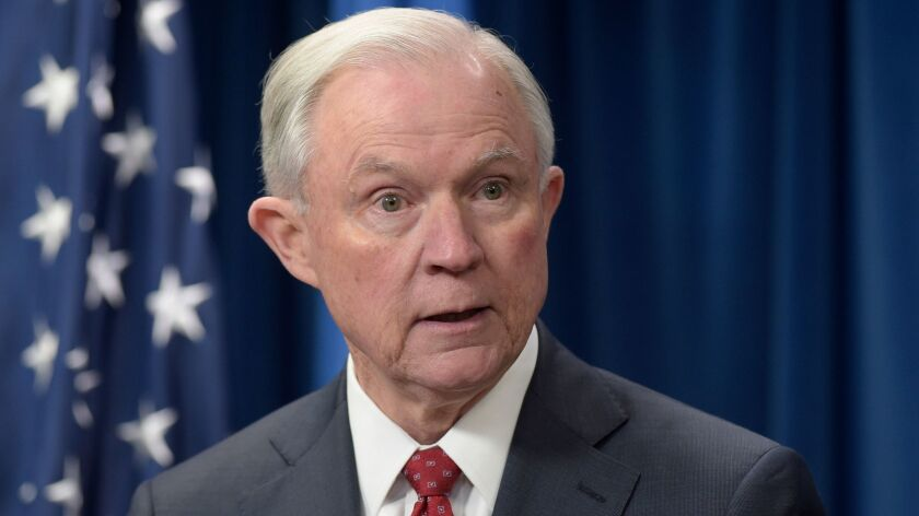 FILE - In this March 6, 2017, file photo, Attorney General Jeff Sessions speaks at the U.S. Customs