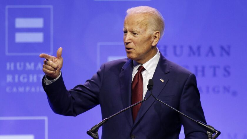 Democratic presidential candidate Joe Biden, who was not among the 14 hopefuls who made appearances at the California Democratic Party convention last weekend, speaks at Ohio State University on June 1.