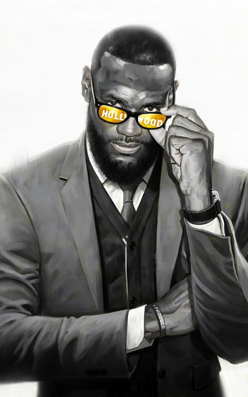 Portrait illustration of LeBron James for story on his entertainment company, Springhill. For Sunday