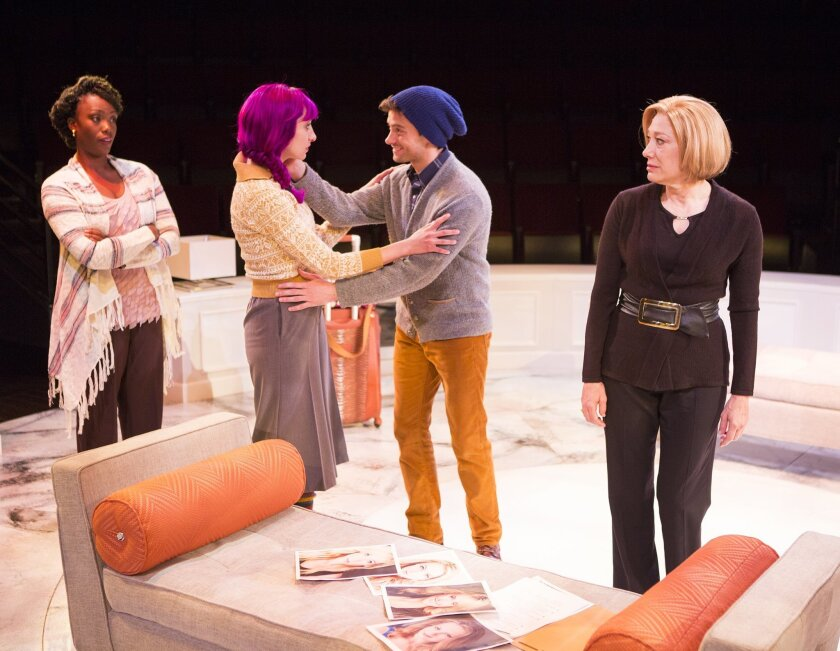 Carolyn Michelle Smith as Maggie, Lauren Blumenfeld as Claudine, JD Taylor as Henry, and Meg Gibson as Eve in the West Coast premiere of Victoria Stewart's 'Rich Girl' at The Old Globe