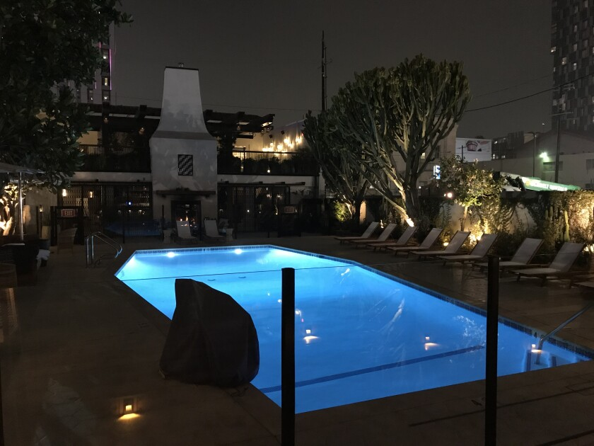 The pool at Hotel Figueroa, a go-to spot before games and concerts.