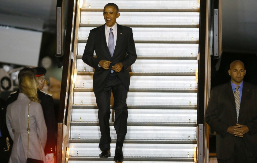 President Obama arrives at Stansted Airport outside London on Thursday.