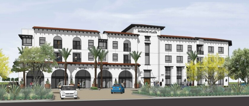 An architectural rendering of the entrance to Mission Flats from Douglas Drive.