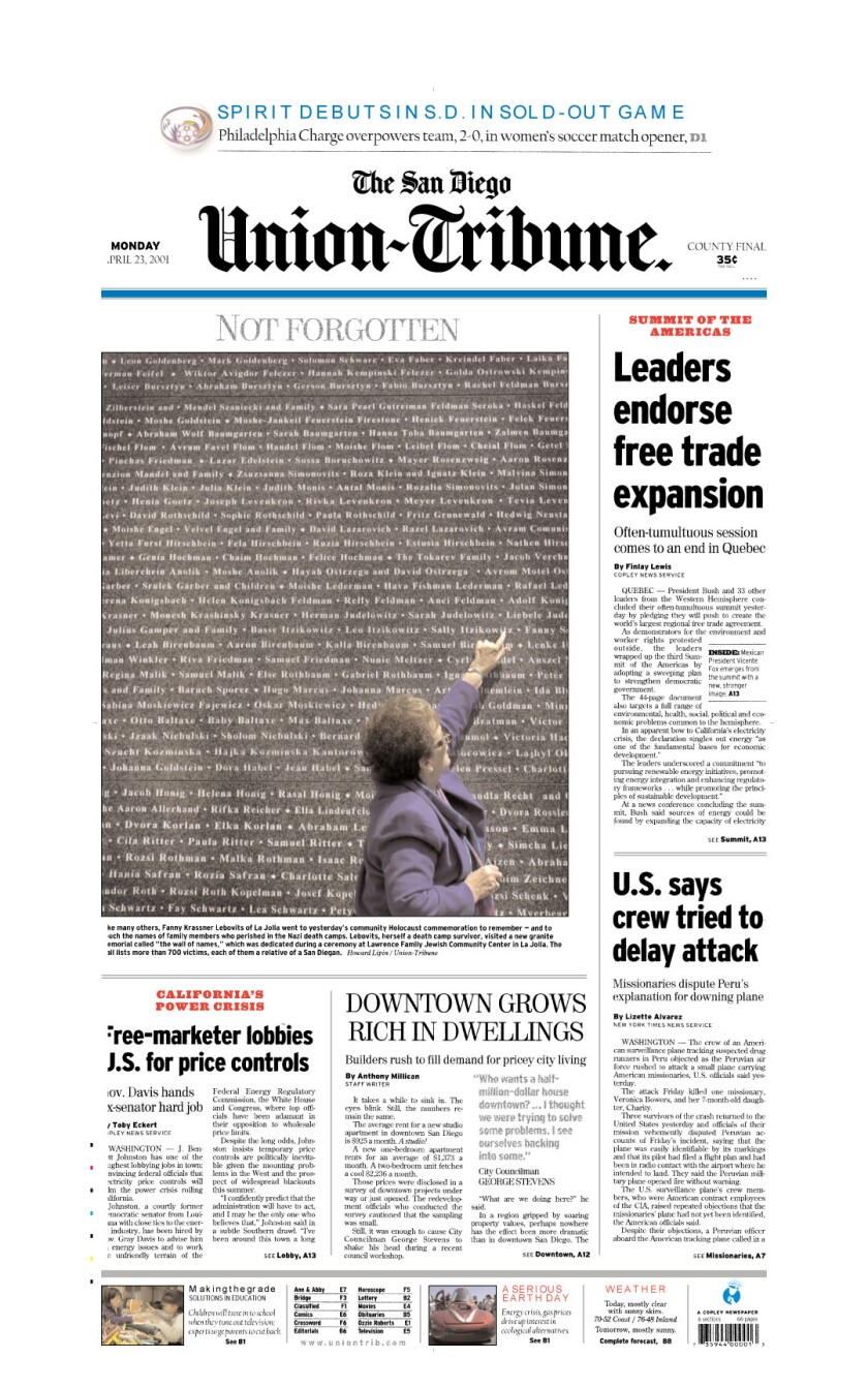 A-1 front page of The San Diego Union-Tribune for April 23, 2001.